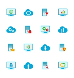 Flat design set with hosting server vector image