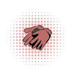 Garden gloves comics icon vector