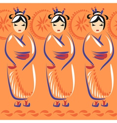 Geisha in national clothing with umbrellas vector image