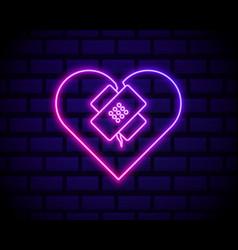 Glowing neon line healed broken heart or divorce vector