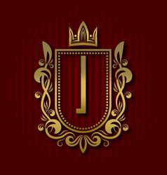 Golden royal coat of arms i monogram vector