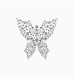 gray ornate butterfly sign vector image