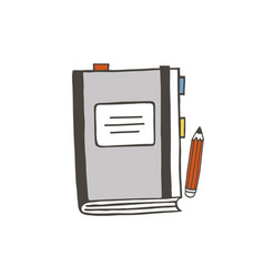 grey notebook and pencil vector image