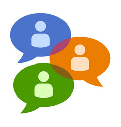 Group chat bubbles or forum discussion icon vector