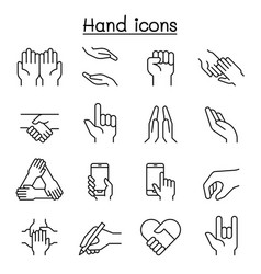 Hand icon set in thin line style vector