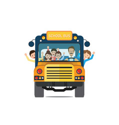 happy smiling kids riding on a yellow school bus vector image