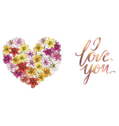 Heart of colorful lilies and lettering i love you vector