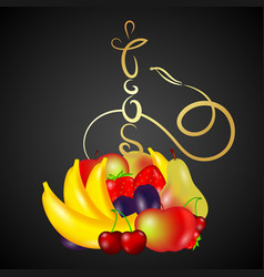 hookah gold with fruit vector image