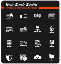 hosting provider white icon set vector image