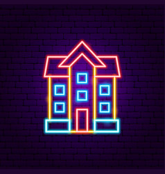 house building neon sign vector image