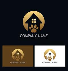 House pet dog gold logo vector