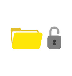 icon concept of opened file folder with padlock vector image
