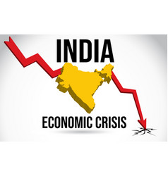 India map financial crisis economic collapse vector