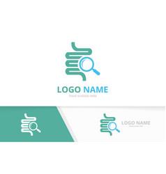 Intestine and loupe logo combination colon vector