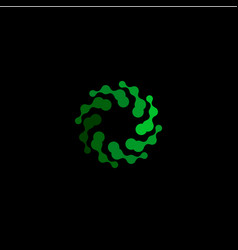 isolated abstract green color round shape logo on vector image