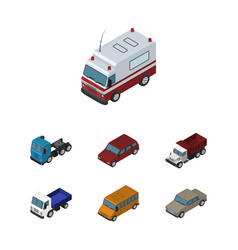 Isometric car set of auto autobus lorry and vector