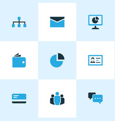 job icons colored set with network talk analytic vector image