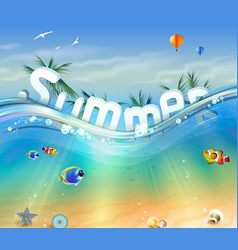 letters underwater with palm trees vector image