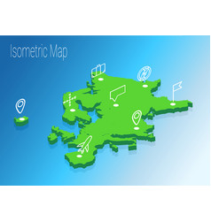 Map europe isometric concept vector