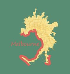 Melbourne australia map in retro style flat vector
