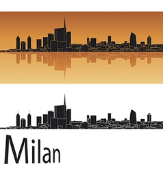 Milan skyline in orange background vector image