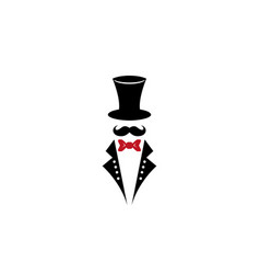 monochrome of top hat moustach vector image
