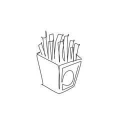 one single line drawing fresh french fries vector image