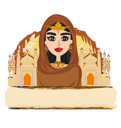 portrait muslim beautiful girl in hijab vector image