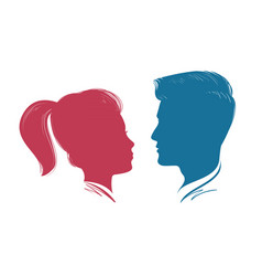 portrait of man and woman head profile vector image