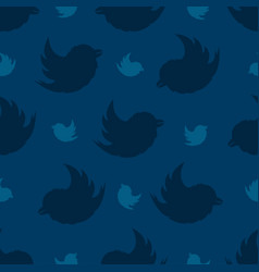 Seamless pattern from birds on a navy blue vector