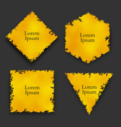 set gold foil frames with textured torn edges vector image