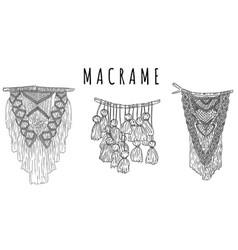 Set macrame boho style wall hangers doodle vector
