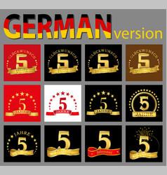 set of number five 5 years celebration design vector image