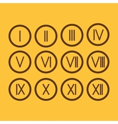 Set roman numerals 1-12 icon vector