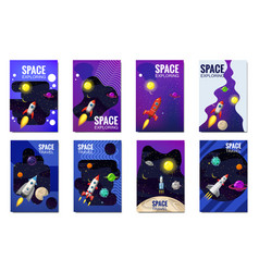 Set space rocket travel cards exploration of the vector