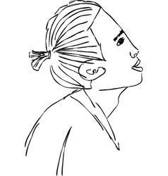Sketch of an asian in profile in 2 layers vector image