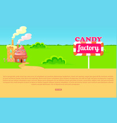Small cartoon candy factory on wide green meadow vector