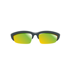 Sport sunglasses with yellow-green polarized vector