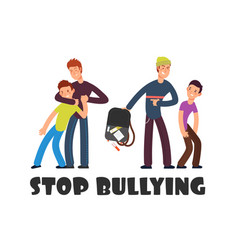stop bullying concept sad helpless kid negative vector image