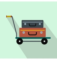 Suitcases on a cart flat icon vector image