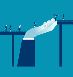 Support in a bridge concept business flat vector