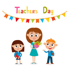 Teacher and pupils isolated vector