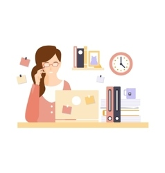 Thinking Woman Office Worker In Office Cubicle vector