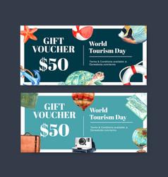 Tourism voucher design with turtle fish balloon vector