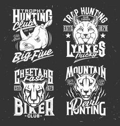 tshirt prints with cougar puma cheetah and rhino vector image
