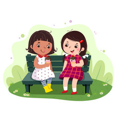 Two little girls eating ice cream on the bench vector