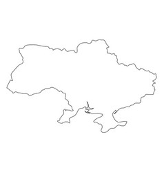 ukraine - solid black outline border map of vector image