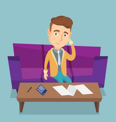 Unhappy caucasian accounting home bills vector