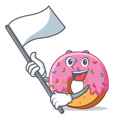 with flag donut mascot cartoon style vector image