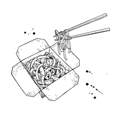 Wok drawing Isolated chinese box and vector